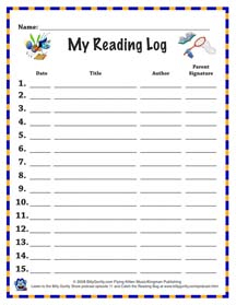 Catch the reading bug theme song kids summer library for Summer reading log template