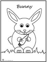 Click bunny image to download and print coloring page