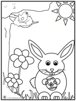 Click to download and print bunny-flower-coloring page