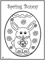 Click image to download and print coloring page of bunny on easter egg
