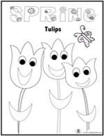Clcikd to download and print spring tulips with a smile coloring page