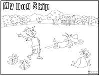 Click to download coloring page of boy and his dog