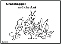 grasshopper and ant coloring pages - photo#3